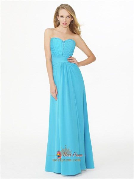 Strapless Floor Length Chiffon Draped A Line Blue Wedding Guest/Bridesmaid Dress