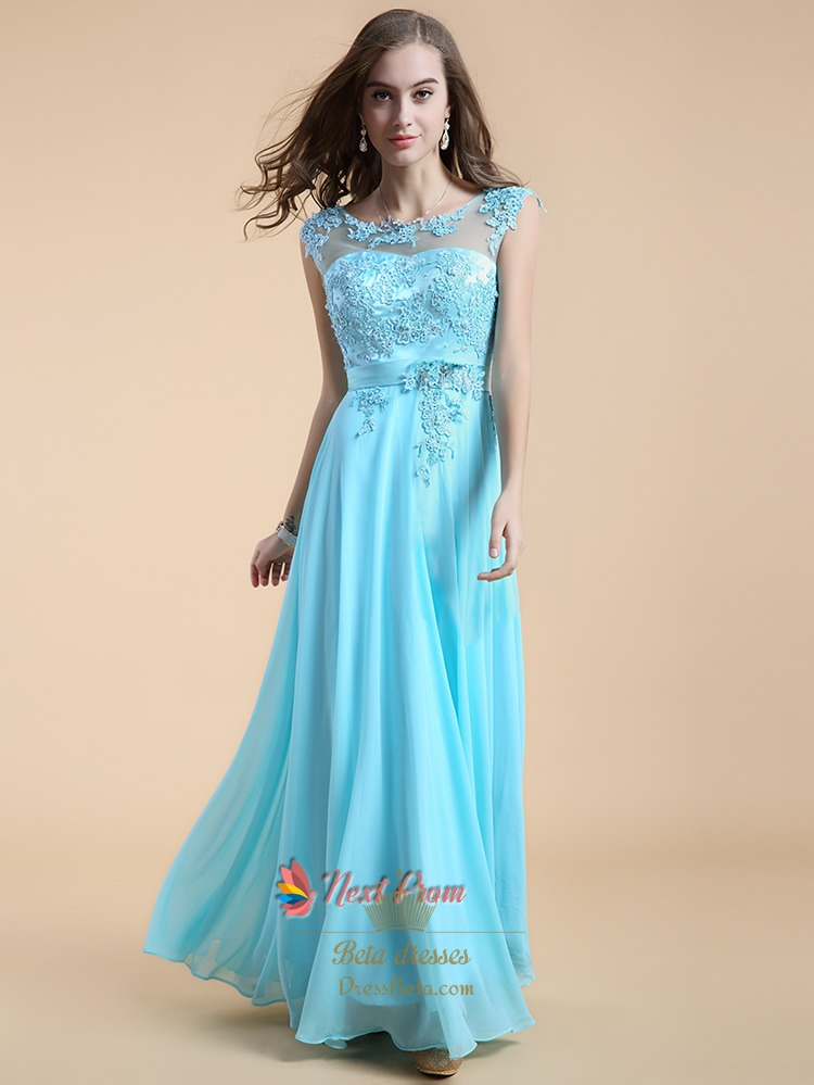 aqua blue bridesmaid dresses with lace cap sleeveslong