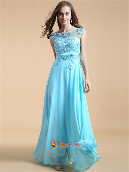Aqua Blue Bridesmaid Dresses With Lace Cap Sleeves Long