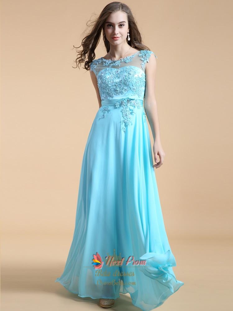 Aqua Blue Bridesmaid Dresses With Lace Cap Sleeves Long