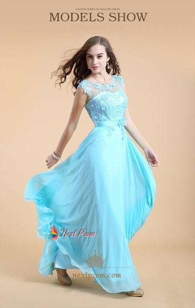 Aqua Blue Bridesmaid Dresses With Lace Cap Sleeves,Long Aqua Blue Prom Dresses