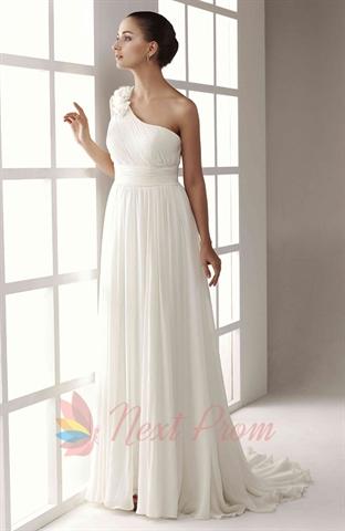 Shoulder White Dress on White One Shoulder Wedding Dress  One Shoulder White Chiffon Dress