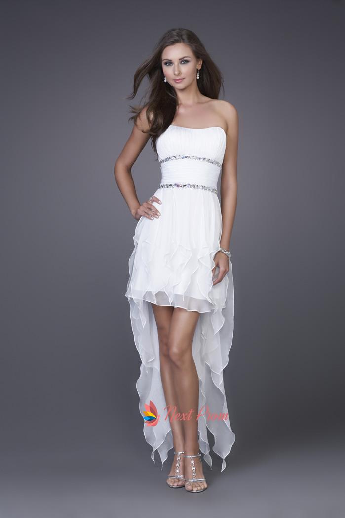 White High Low Dresses Short White Prom Dresses Chiffon Prom Dresses Next