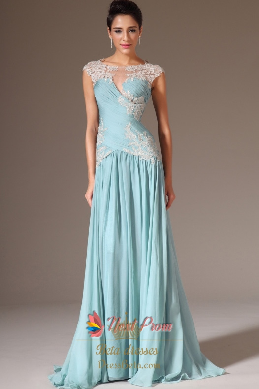 Cap Sleeve Light Blue Casual Prom Dresses Light Blue