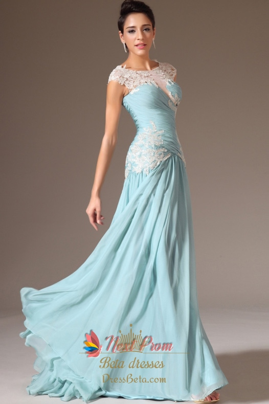 76f72d894b Cap Sleeve Light Blue Casual Prom Dresses,Light Blue Evening Dresses With  Lace Sleeves