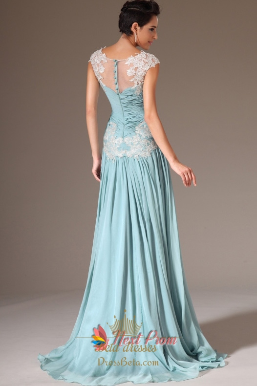 Cap Sleeve Light Blue Casual Prom Dresses,Light Blue Evening ...