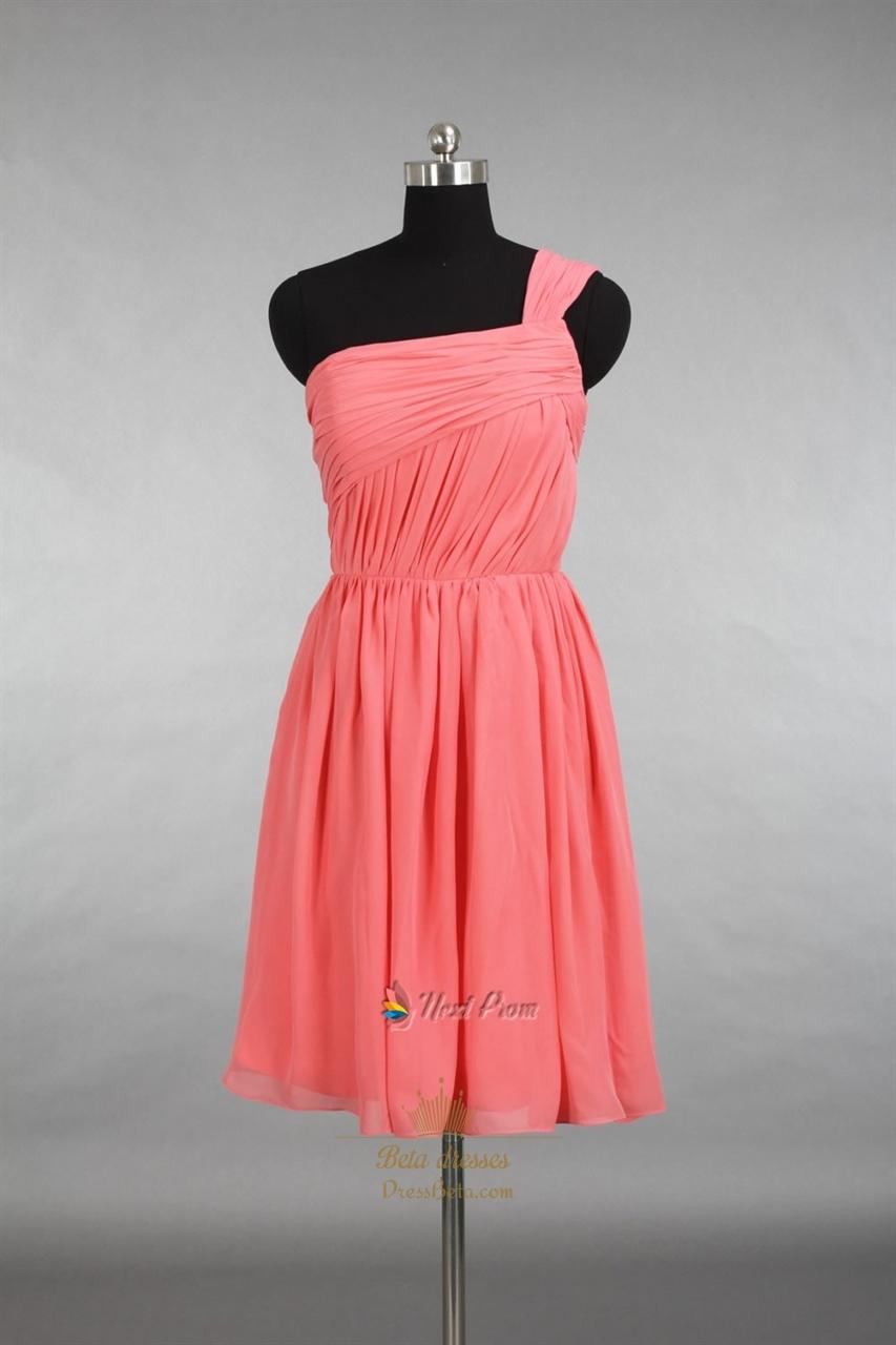 Coral One Shoulder Bridesmaid Dresses,Short One Shoulder Coral Chiffon Dress
