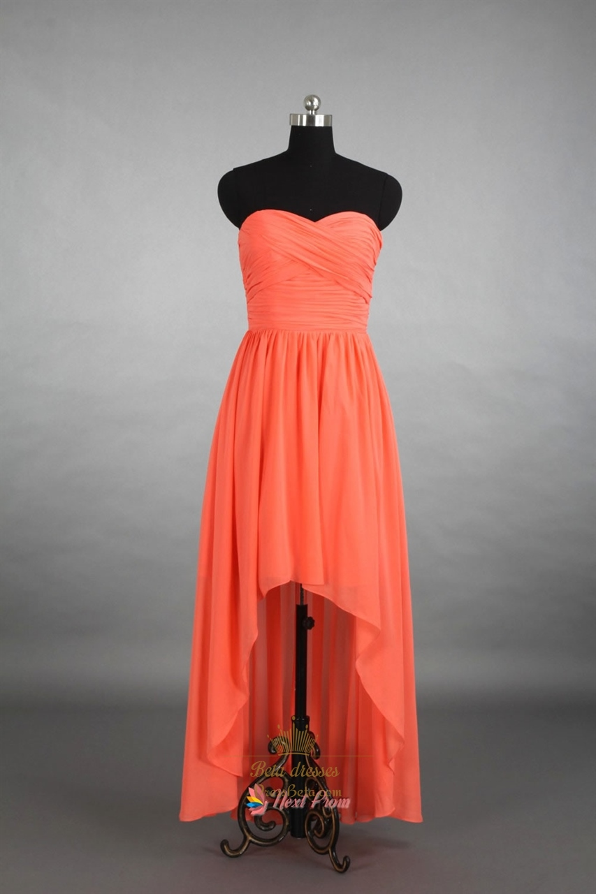 Coral high low bridesmaid dress strapless coral high low for Coral bridesmaid dresses for beach wedding
