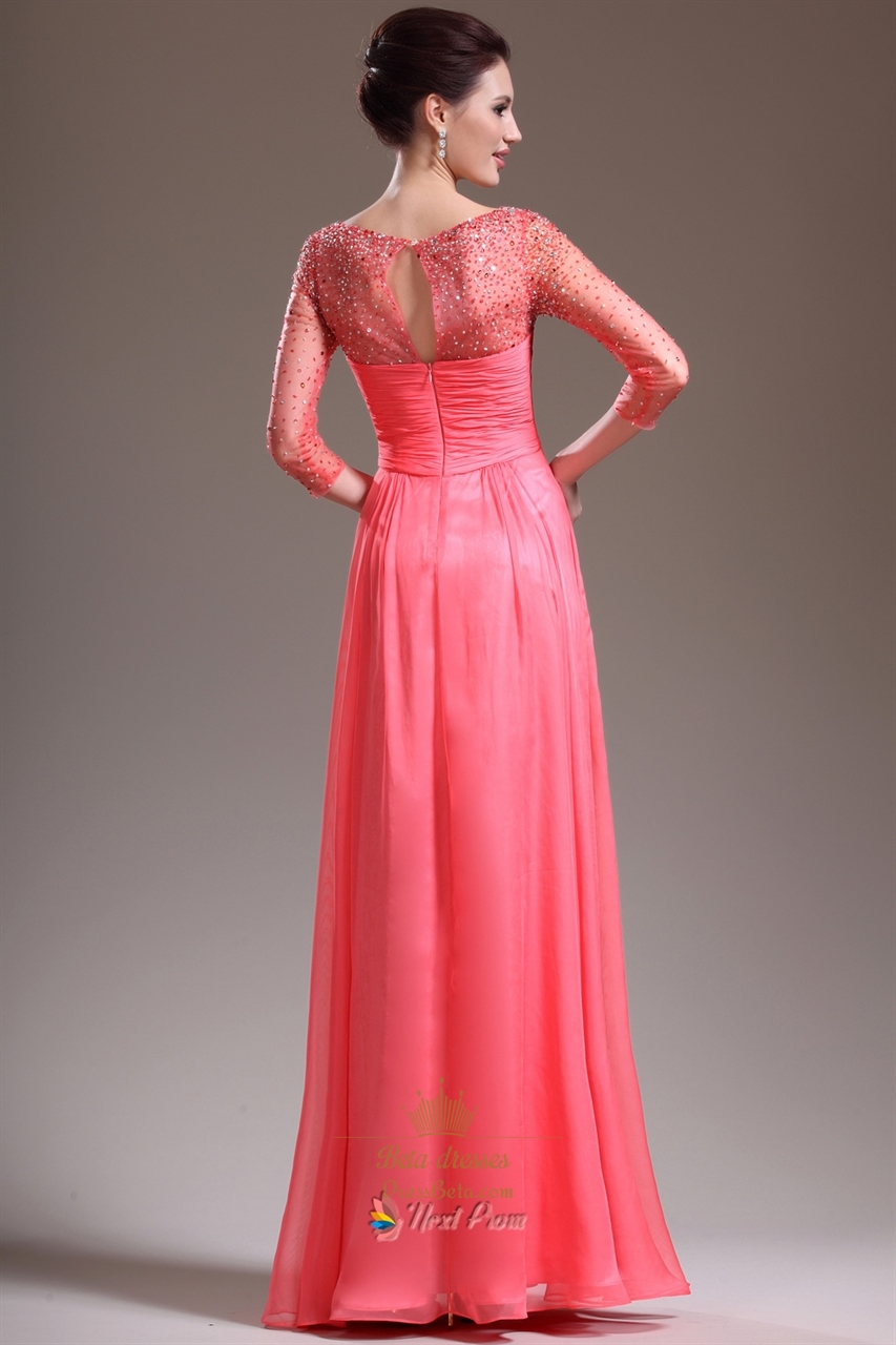 Pink Prom Dresses With Sleeves,Hot Pink Prom Dresses With ...
