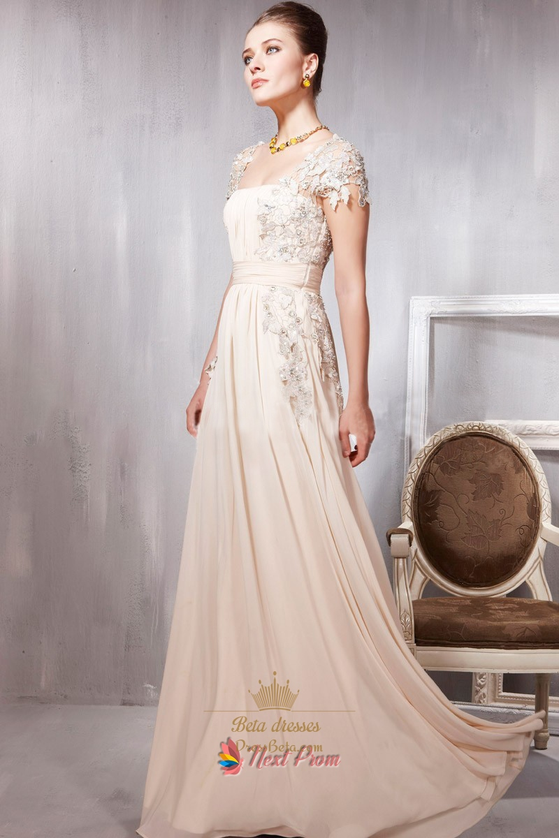 Long Pale Pink Prom Dresses With Lace Cap Sleeves Pale