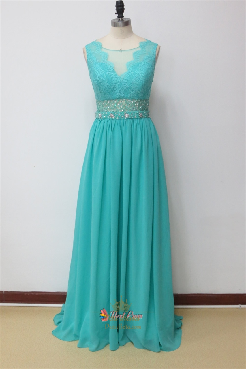 Aqua Blue Prom Dresses With Lace Cap Sleeves Aqua Blue