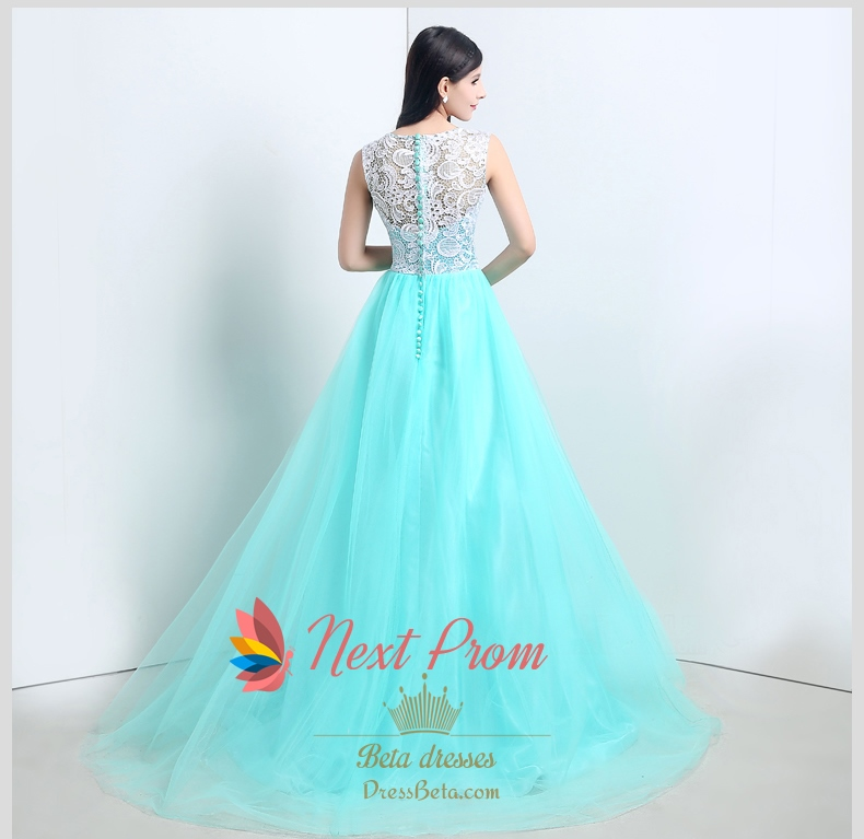 6414fece9b33 Light Tiffany Blue Prom Dresses With White Lace Overlay Top