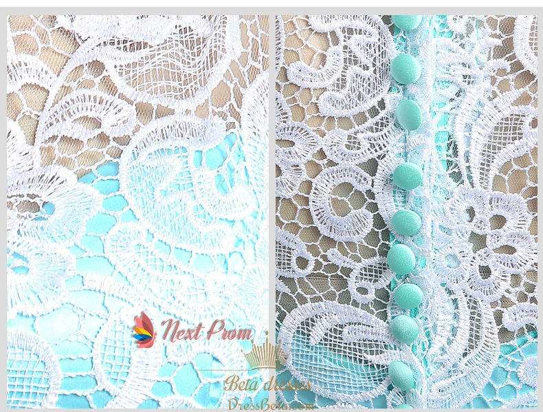 White dress blue lace overlay