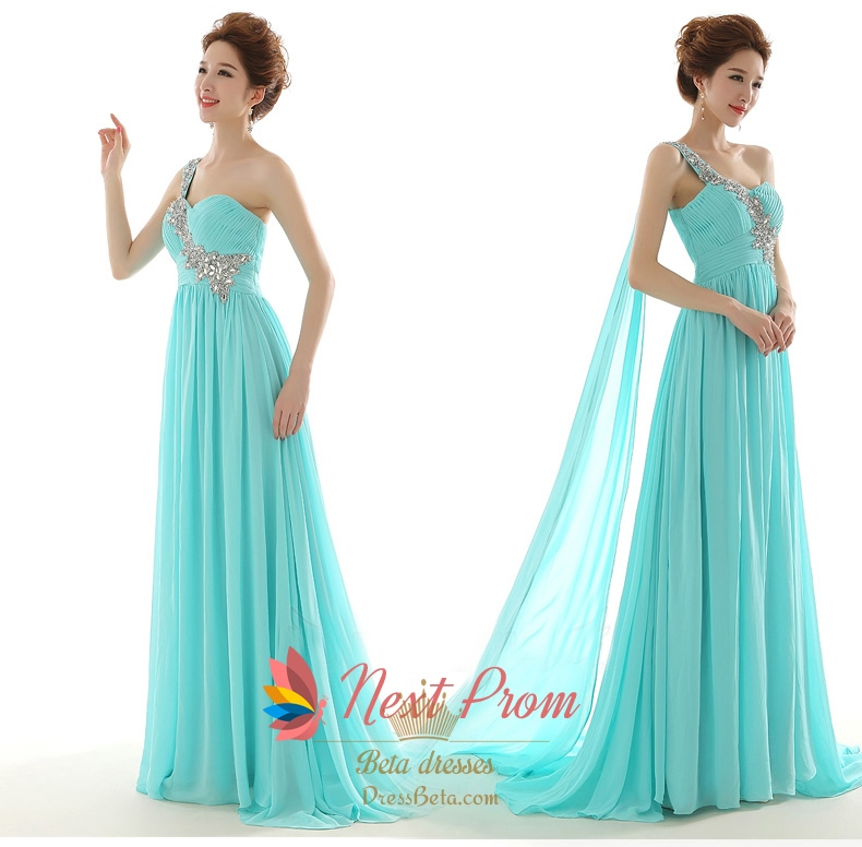 Nextprom Tiffany Blue One Shoulder Long Chiffon Maxi Prom Dress ...