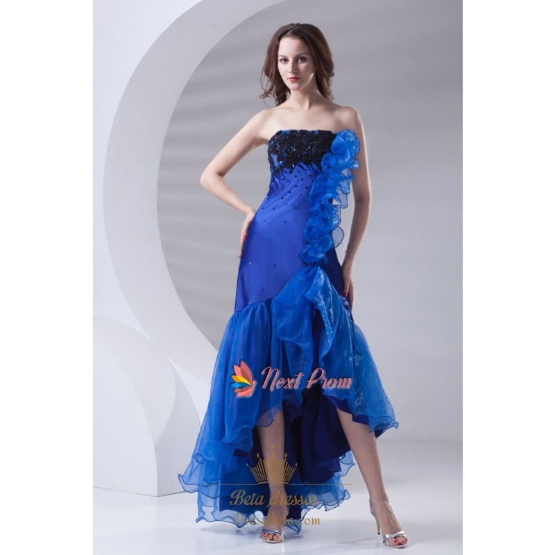 royal blue strapless high low formal prom dress with high