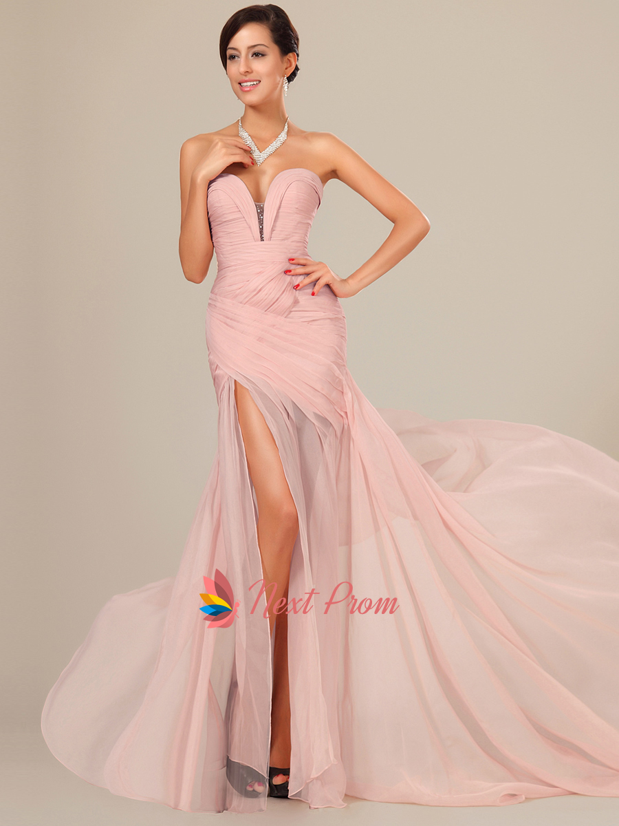 Light Pink Bridesmaid Dresses,Pearl Pink Chiffon Prom Dresses Floor Length With Slits