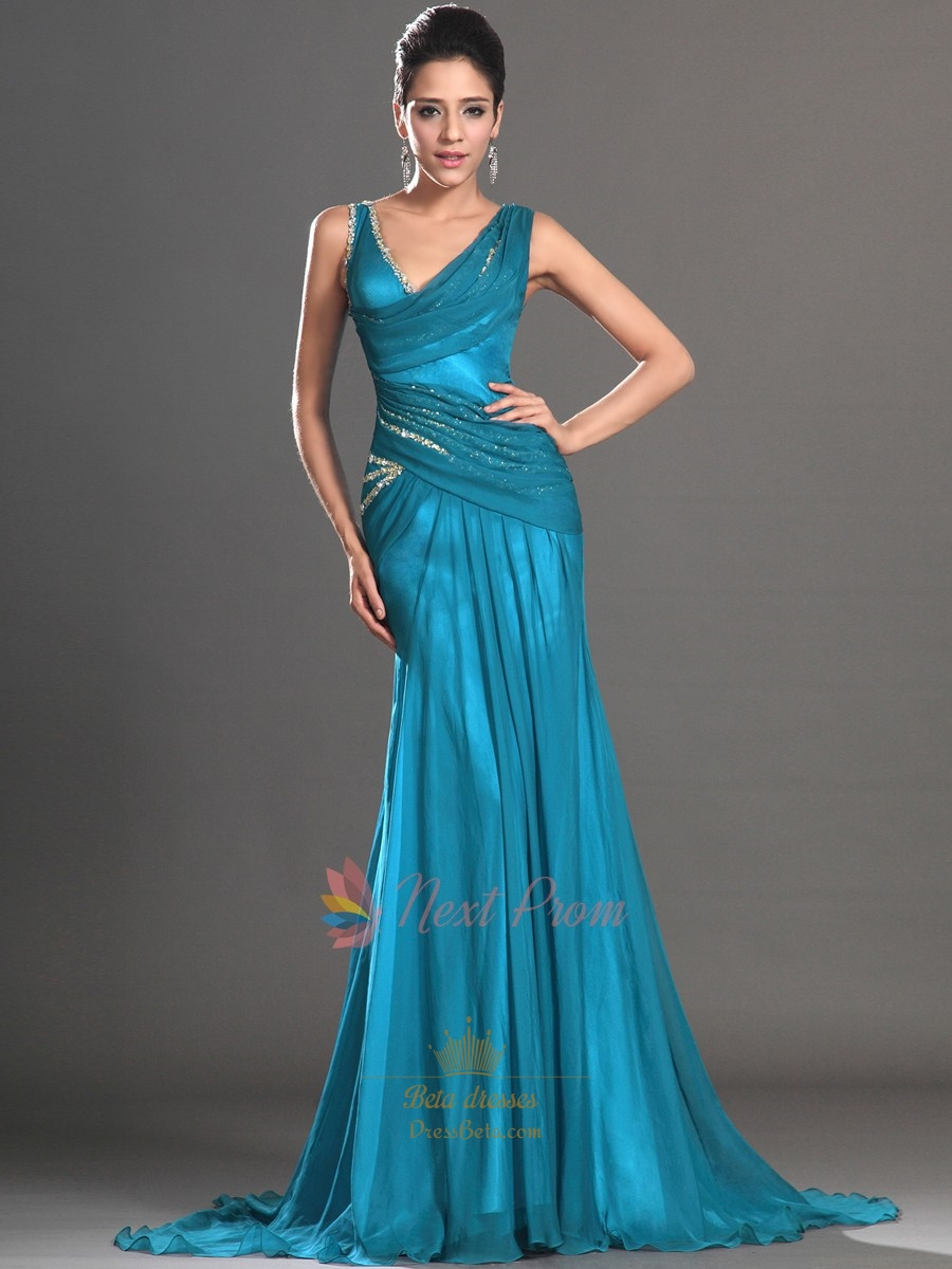 Teal Sequin Mermaid Prom Dress, Embellished Chiffon Mermaid Prom ...