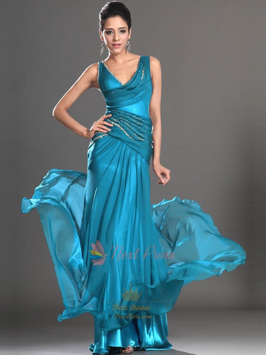 Teal Sequin Mermaid Prom Dress, Embellished Chiffon Mermaid Prom ...