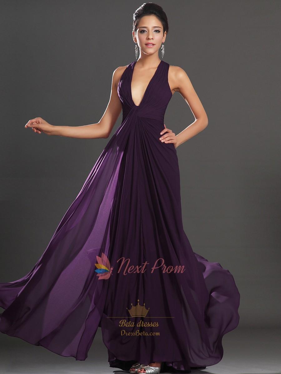 Dark Purple Shirred Waist Chiffon Prom Dress, V Neck ...