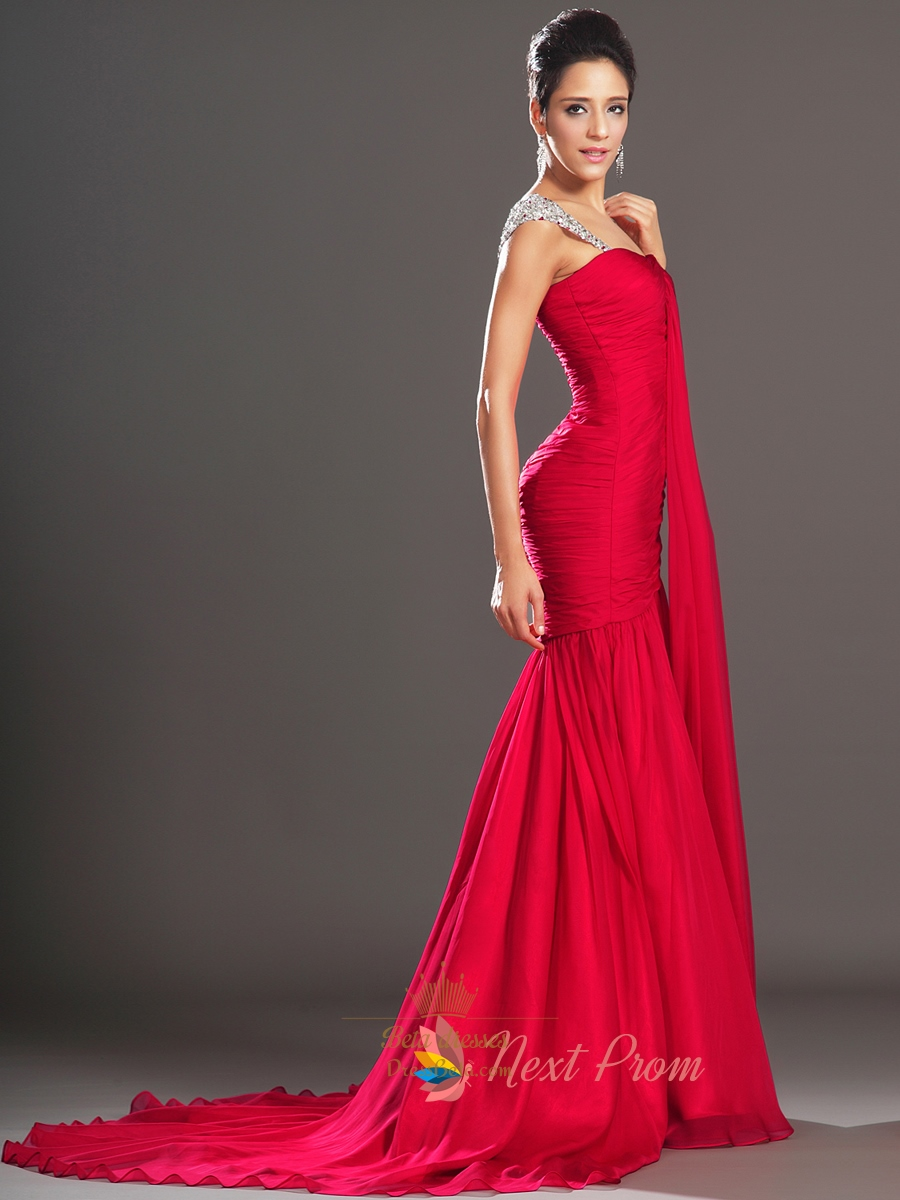 Red Mermaid Chiffon Prom Dresses With Sequin Straps Next