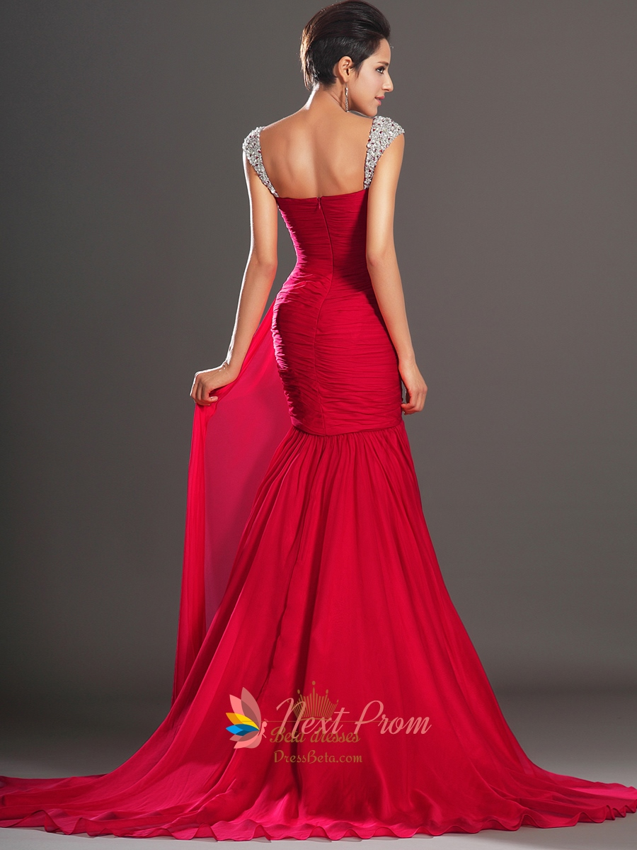 red mermaid chiffon prom dresses with sequin straps next prom dresses. Black Bedroom Furniture Sets. Home Design Ideas