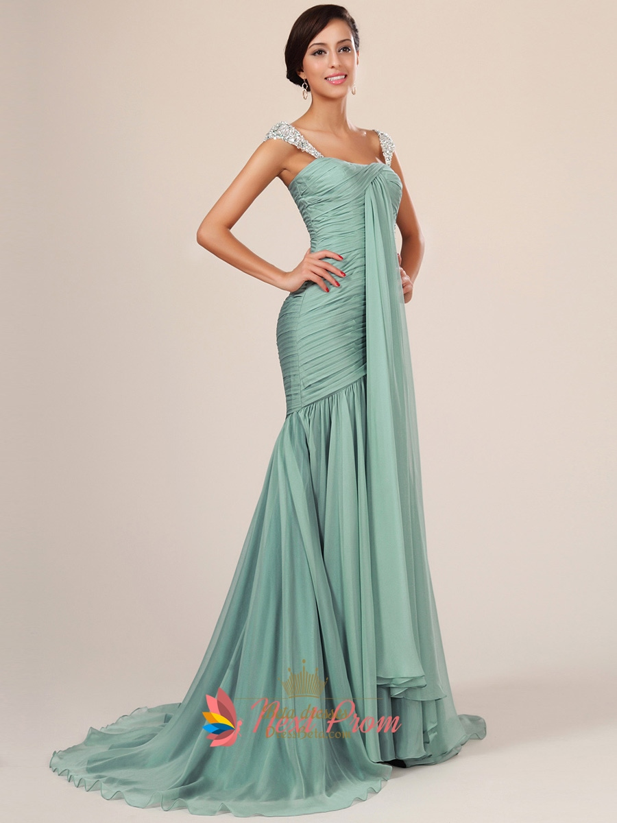 Light Blue Mermaid Prom Dress With Sequin Straps Next
