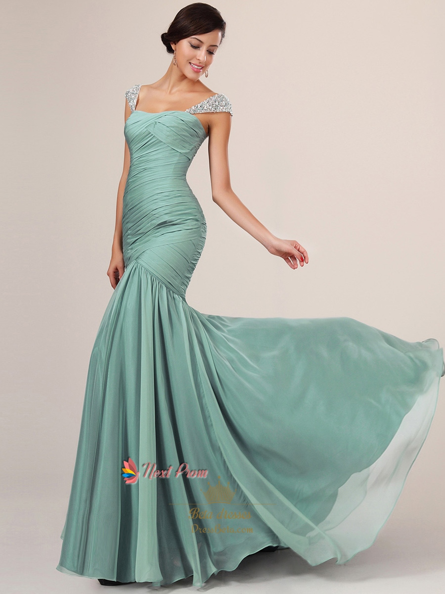 Light Blue Mermaid Prom Dress With Sequin Straps | Next