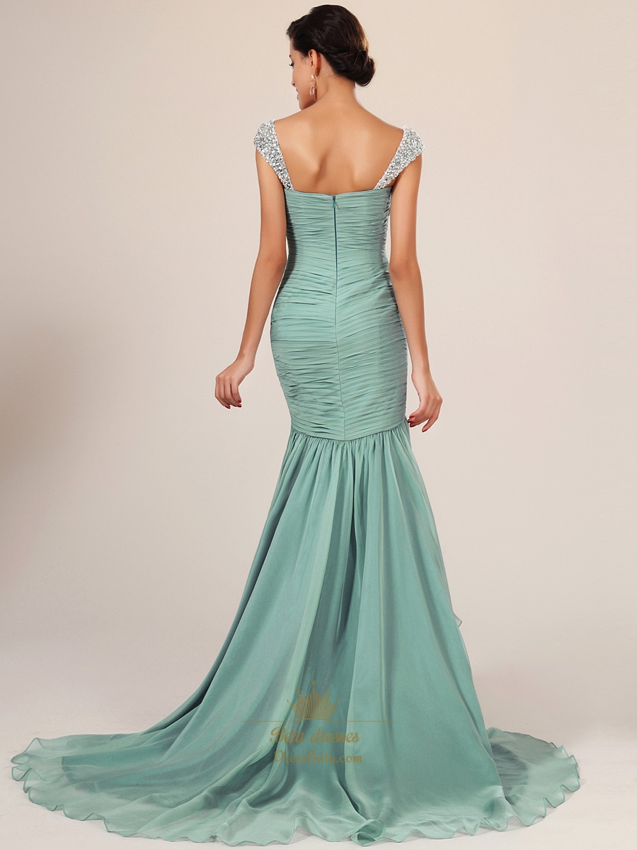 Light Blue Mermaid Prom Dress With Sequin Straps | Next Prom Dresses