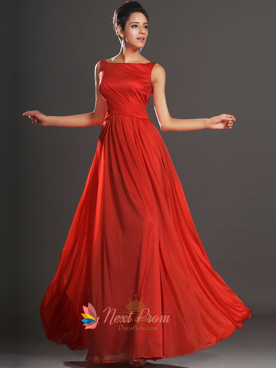 Long Red Open Back Chiffon Prom Dresses With Straps Next
