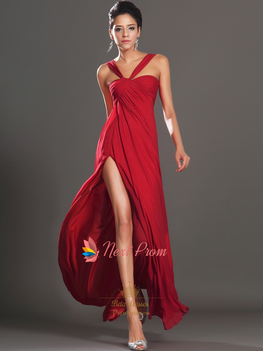Long Red Elegant Winter Formal Prom Dress With Slits On