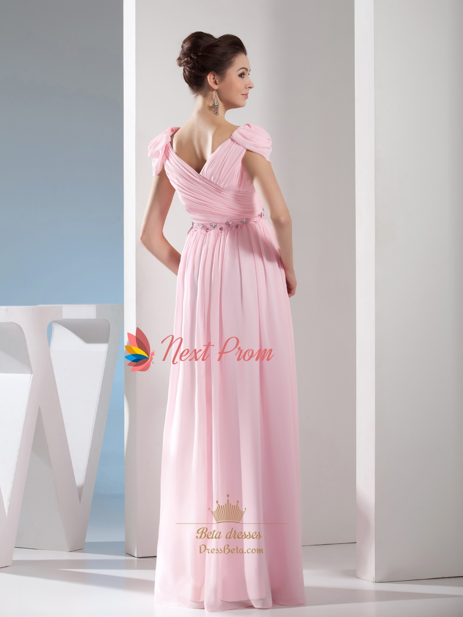 Light Pale Pink Off The Shoulder Long Chiffon Bridesmaid Dresses ...