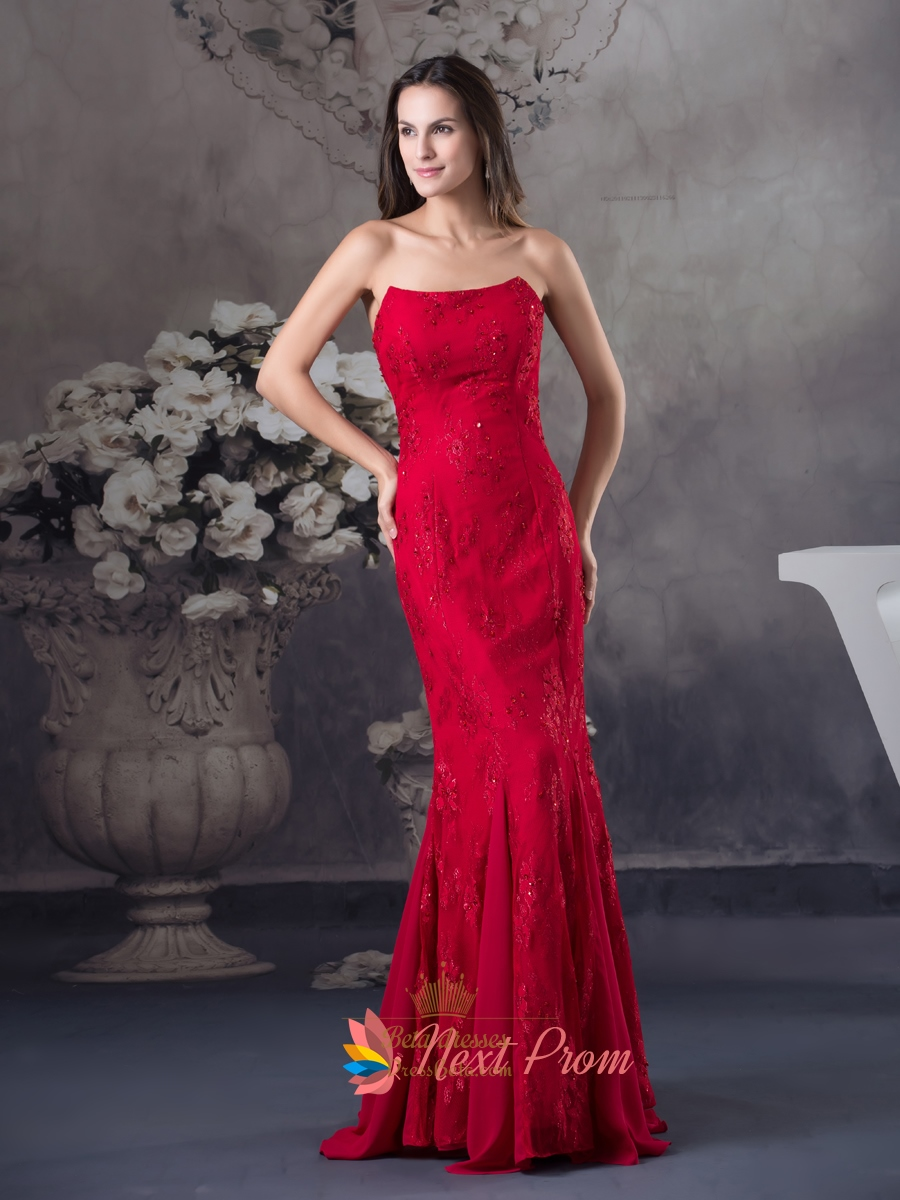 Red Strapless Sweetheart Neckline Mermaid Evening Prom Dress With ...