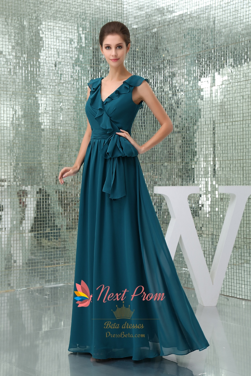Long Cheap Dark Teal Chiffon Prom Mother Of The Groom