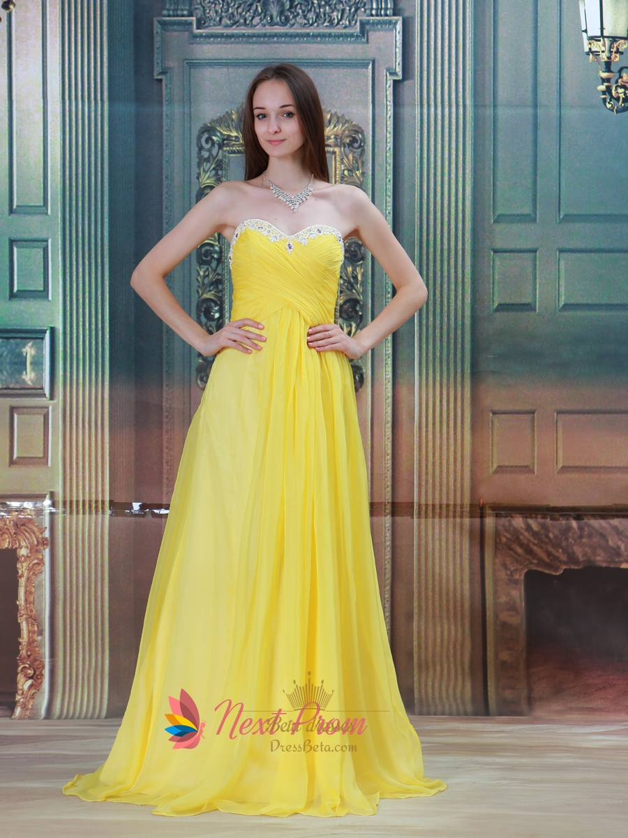 Bright yellow gold maternity chiffon strapless bridesmaid for Yellow wedding dresses for sale