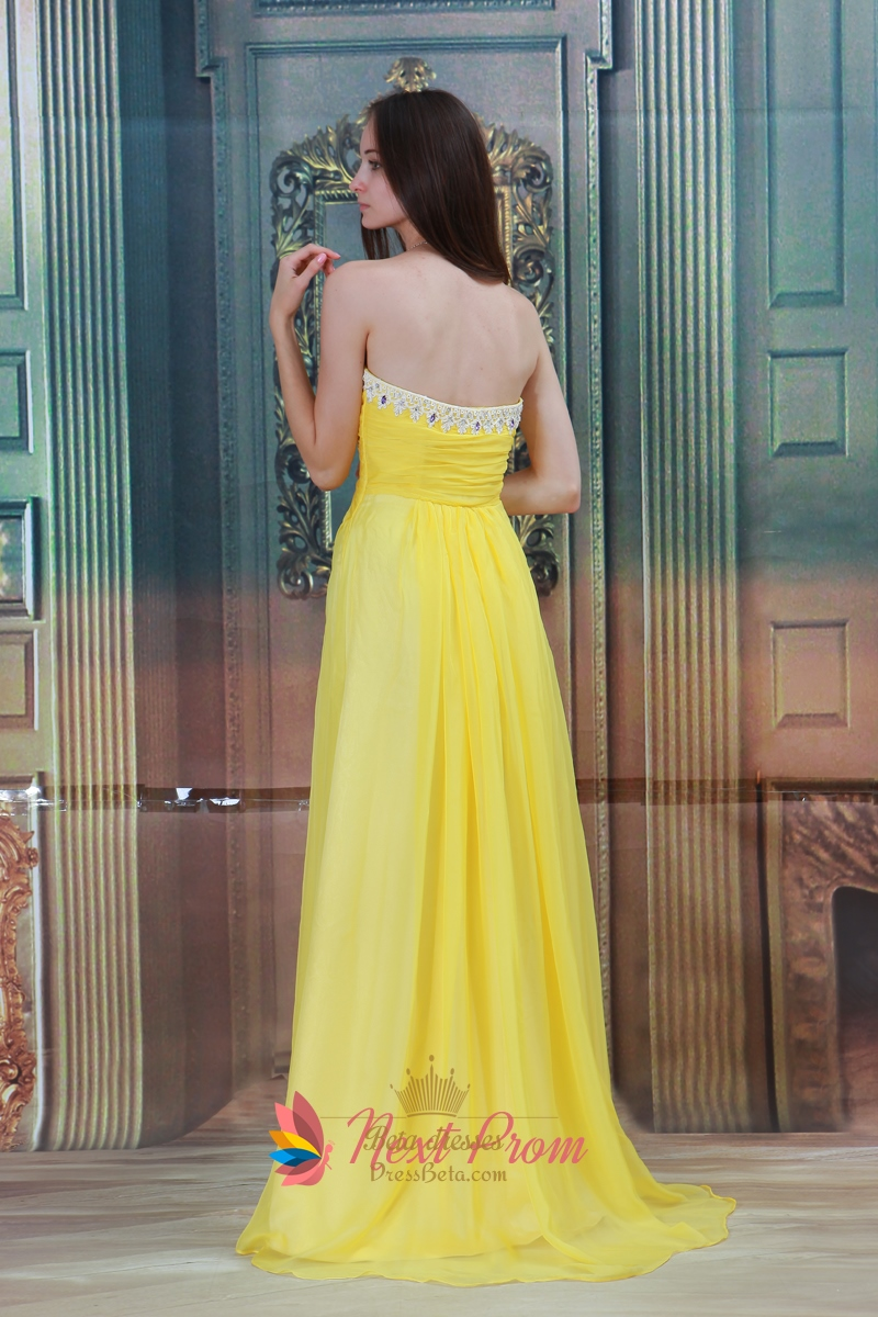 Bright yellow gold maternity chiffon strapless bridesmaid for Yellow maxi dress for wedding