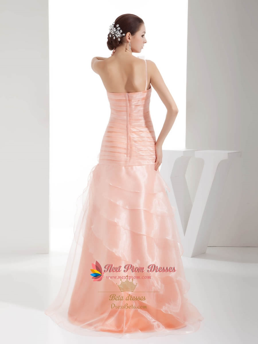 Light Pale Pink One Shoulder Modest Long Ball Gown Prom Dress With ...