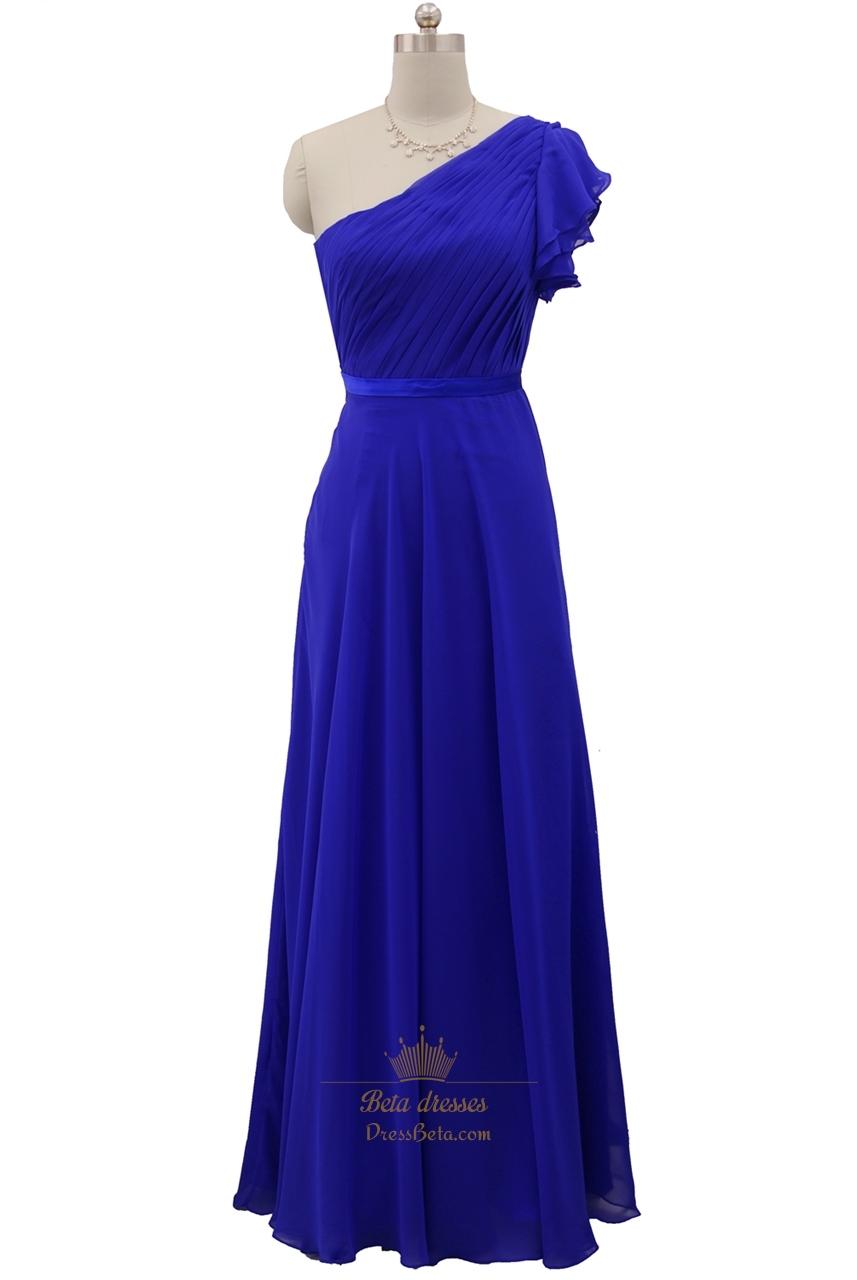 one shoulder chiffon royal blue bridesmaid dress with