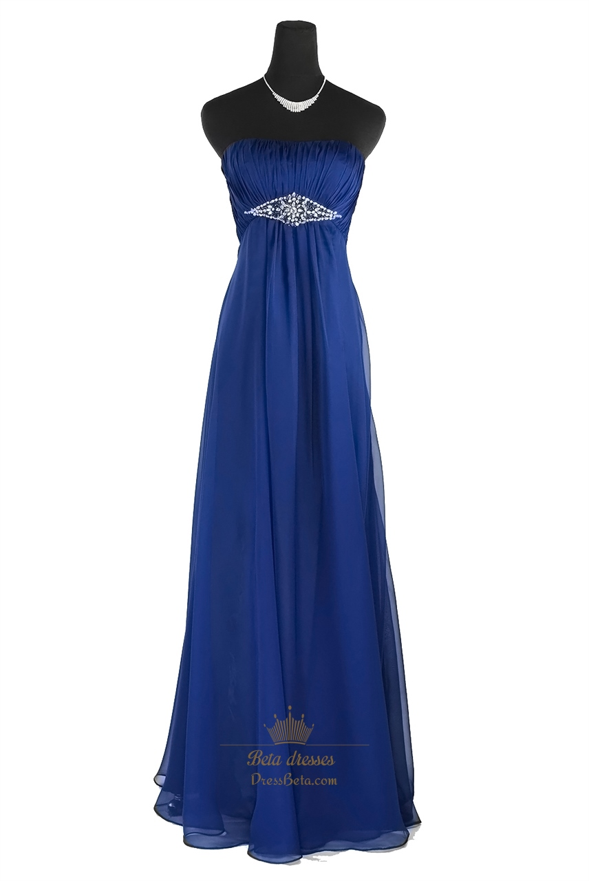 Amazing Royal Blue Strapless Embellished Waist Chiffon ... - photo#9
