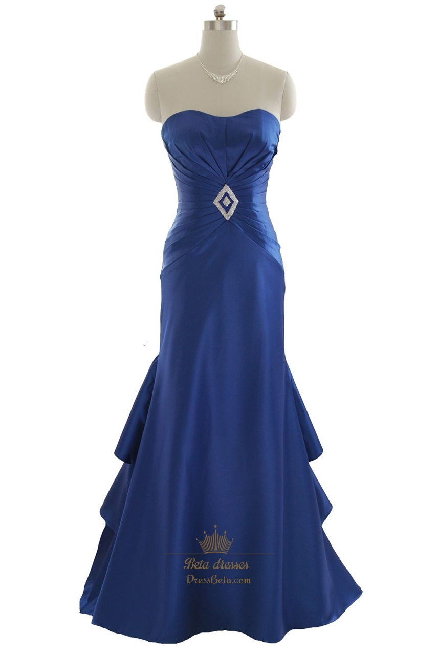 Royal Blue Mermaid Strapless Layered Long Prom Dress With ...