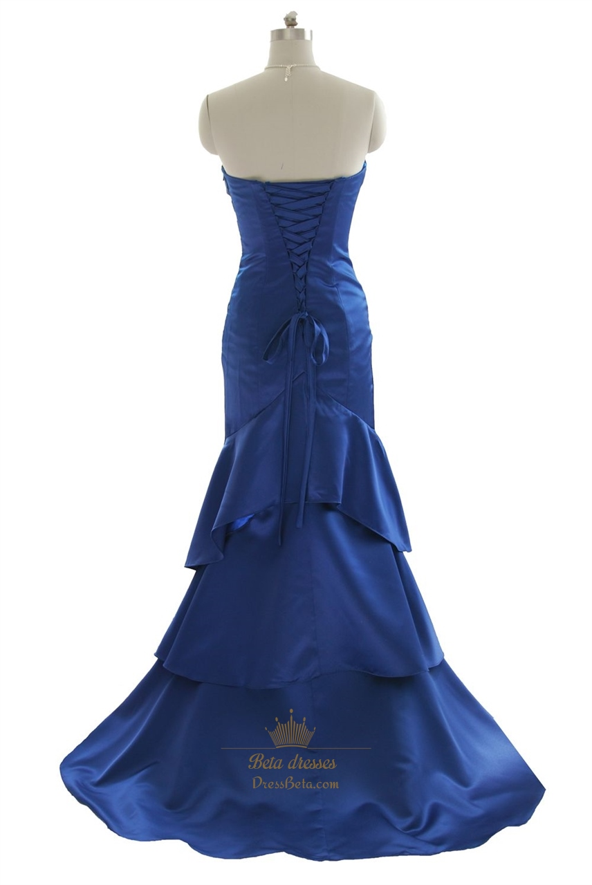 Royal Blue Mermaid Strapless Layered Long Prom Dress With