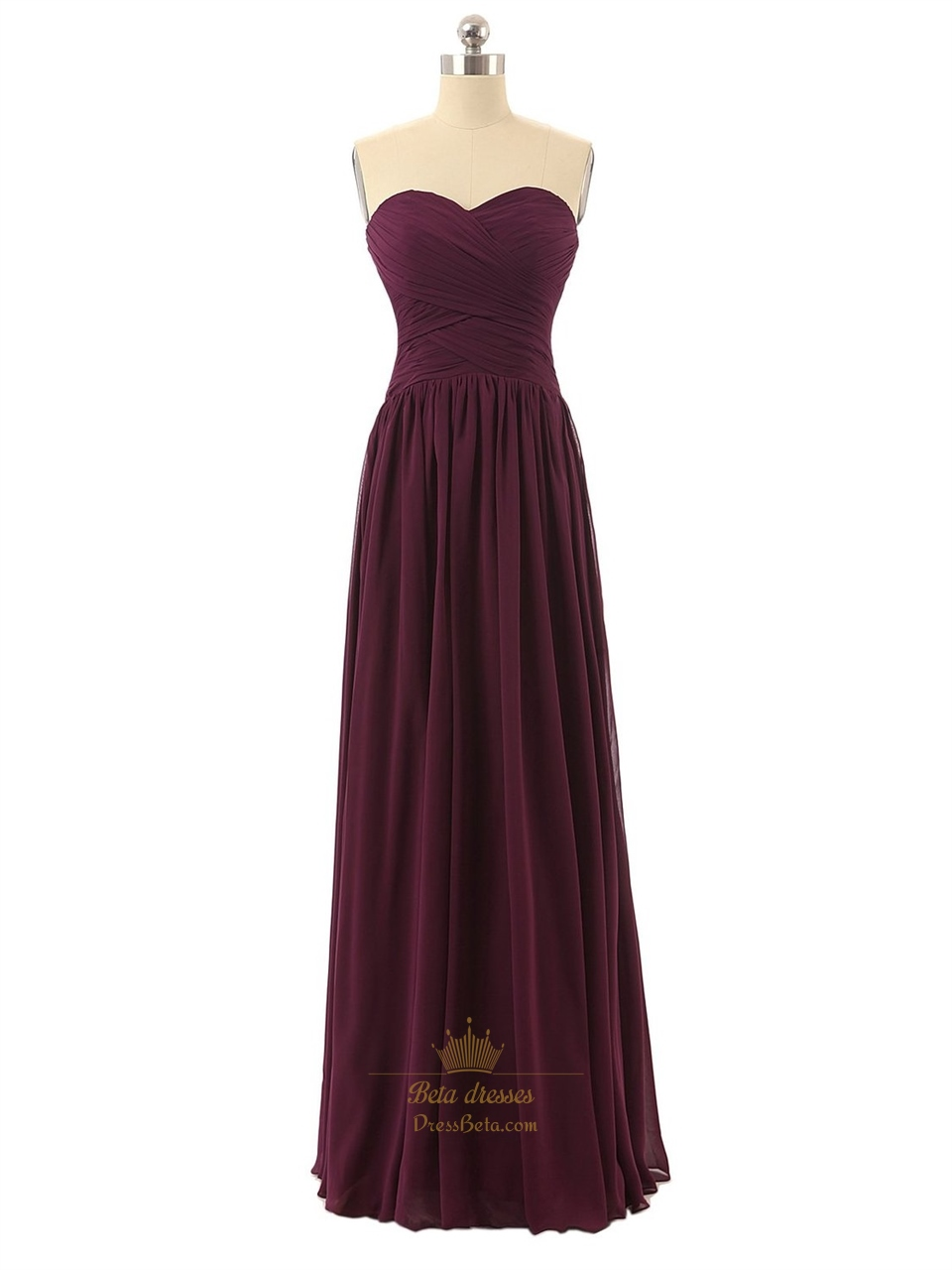 Burgundy Sweetheart Chiffon Bridesmaid Dress With Criss-Cross Bodice | Next Prom Dresses