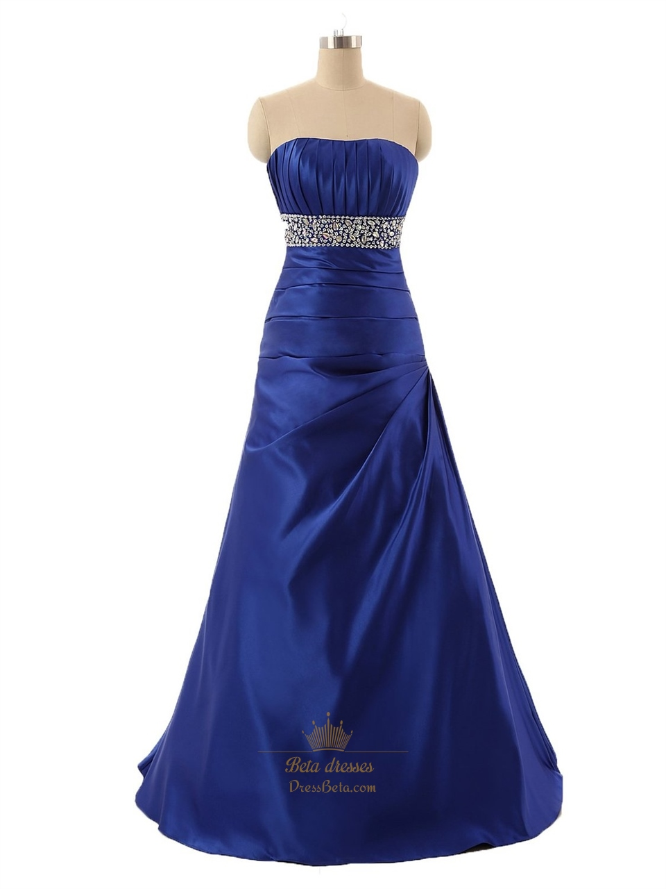Royal blue strapless a line sweetheart floor length for Floor length dresses