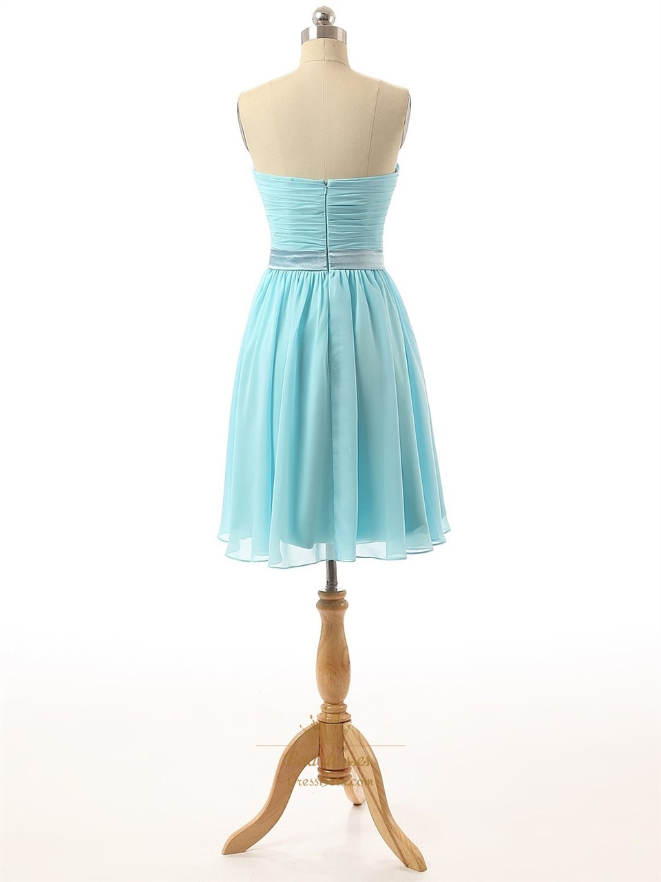 Baby blue strapless pleated bodice chiffon bridesmaid for Baby blue wedding dress