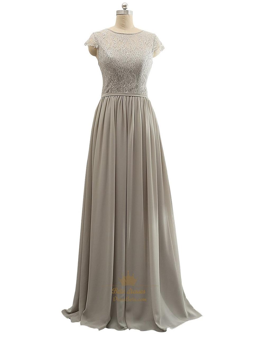 a813d7acc7b4d Grey Sheer Lace Bodice Chiffon Ruffle Cap Sleeve Mother Of Bride Dress SKU  -P071
