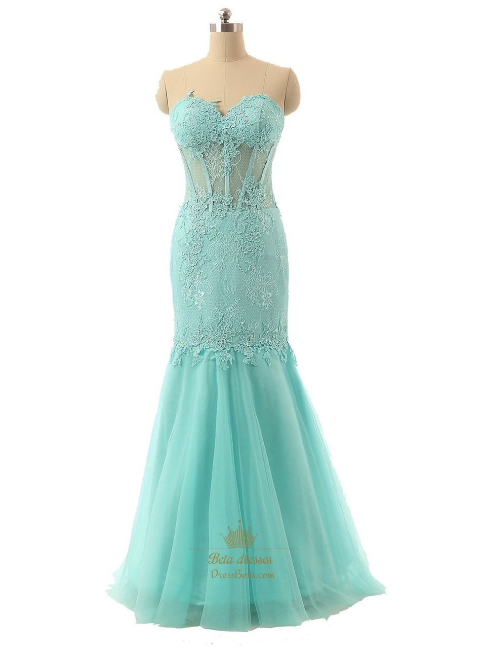c6b3ce4bf4 Tiffany Blue Strapless Lace Sweetheart Corset Bodice Tulle Mermaid Prom  Dress SKU -P100