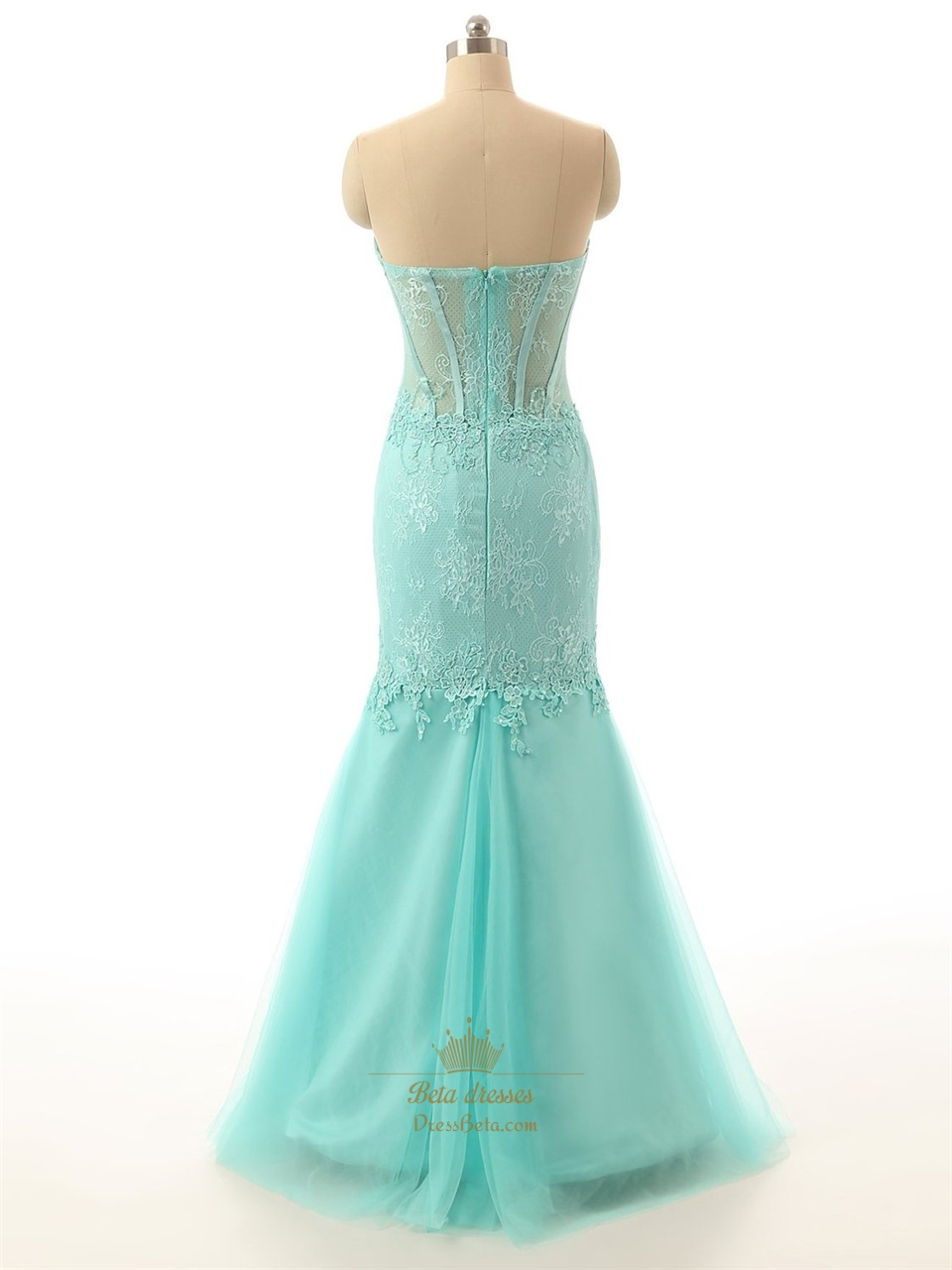 Tiffany Blue Strapless Lace Sweetheart Corset Bodice Tulle Mermaid ...