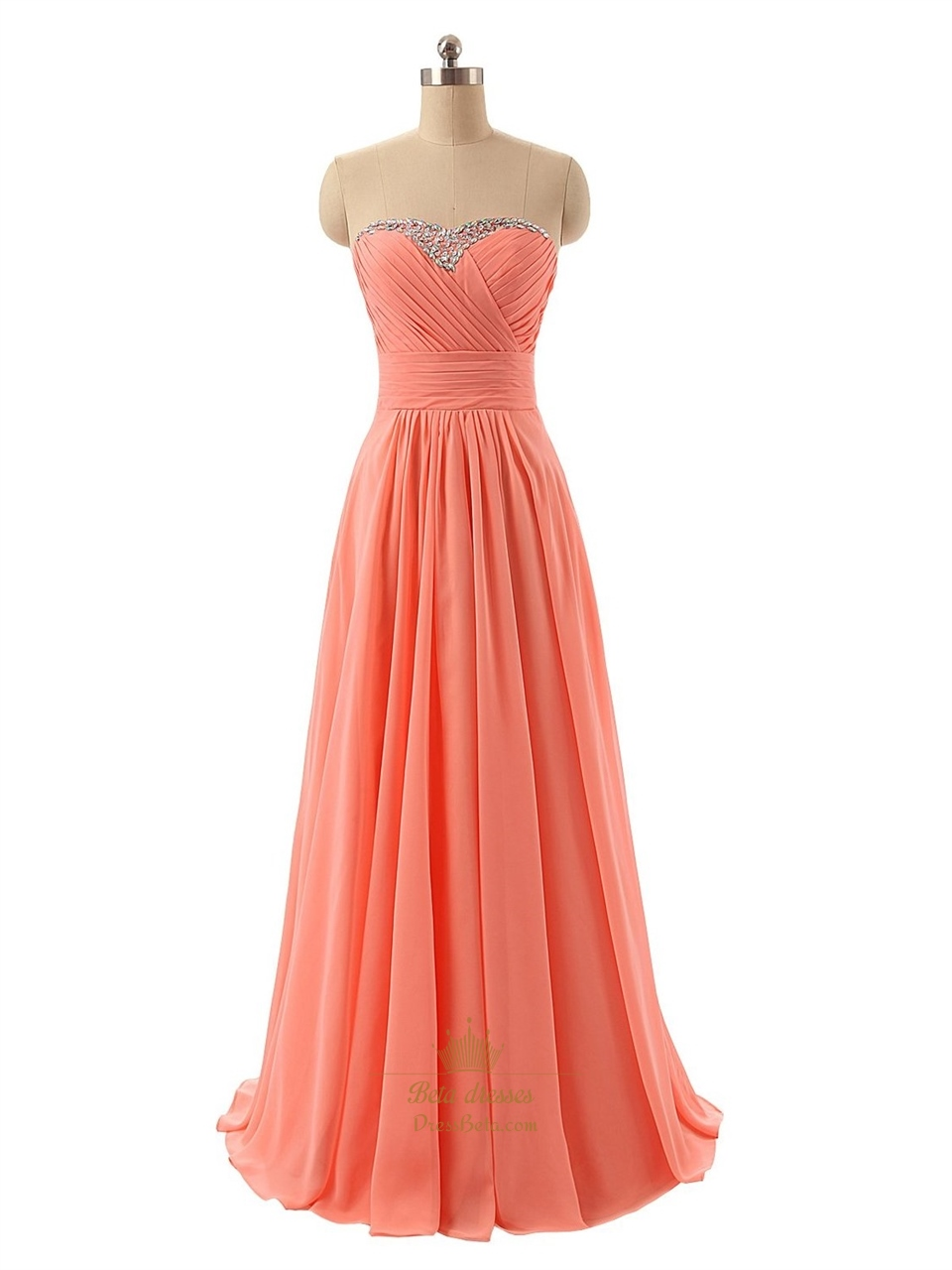 Coral strapless beaded sweetheart neckline ruched bodice for Sweetheart neckline ruched bodice wedding dress