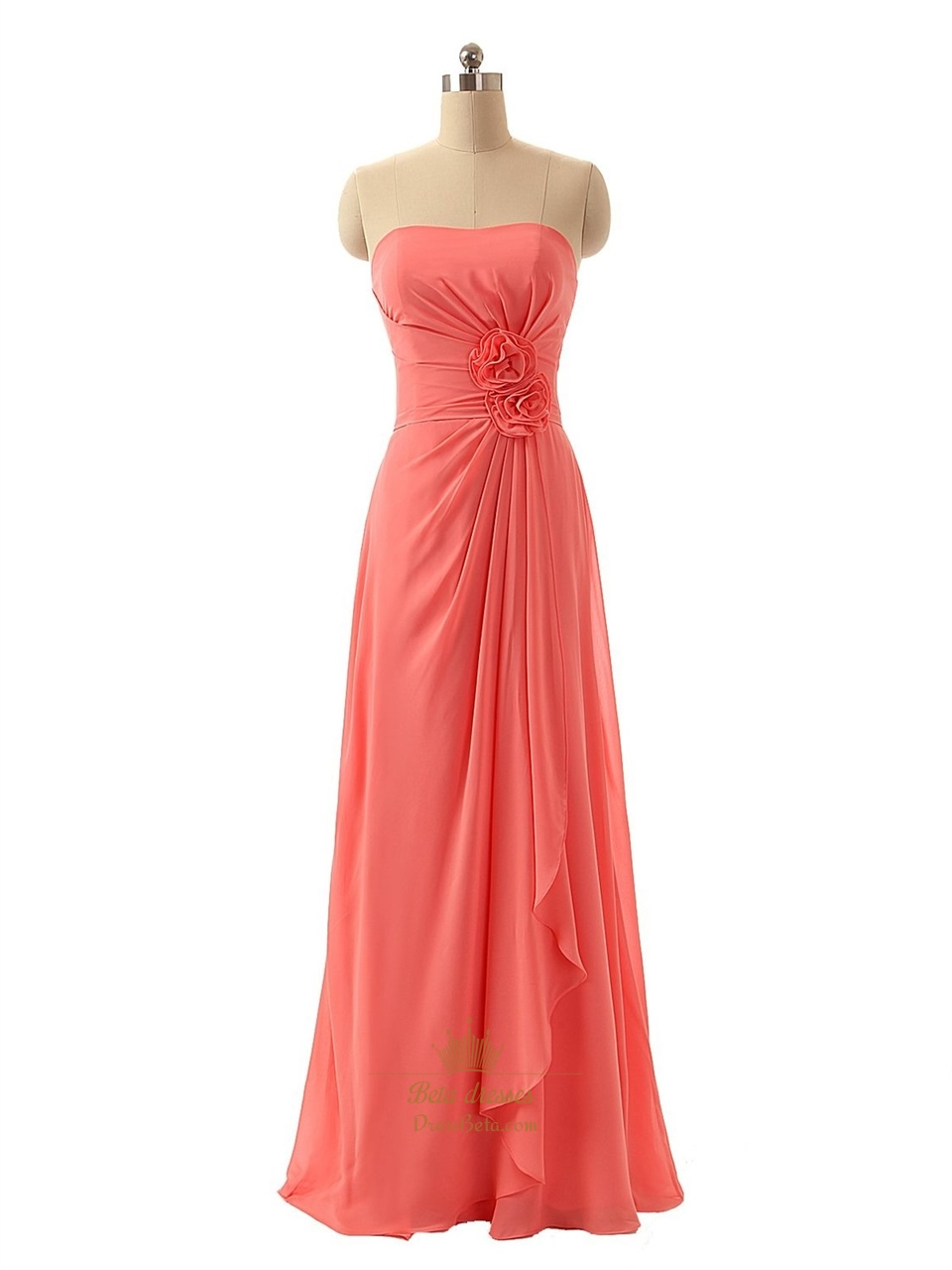 f321e158aa Coral Strapless Crinkle Chiffon Ruched Bodice Evening Dress With Front  Cascade SKU -P111