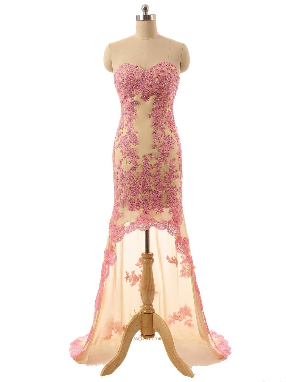 champagne strapless high low lace floral applique prom