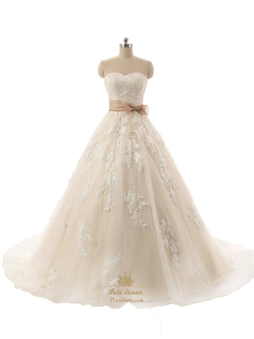 Champagne Strapless Floral Applique Tulle Overlay Wedding